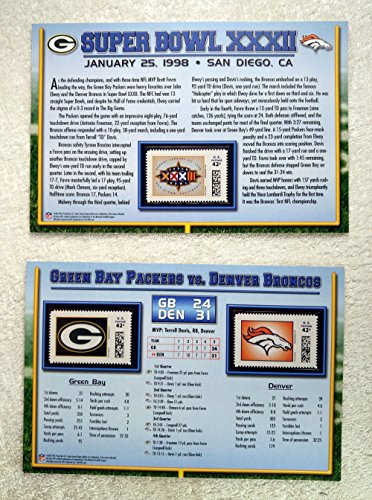 (Super Bowl XXXII (1998) - Official NFL Super Bowl Stamp Collection - 2 Pieces / 3 Stamps - Denver Broncos vs Green Bay Packers - Terrell Davis MVP)