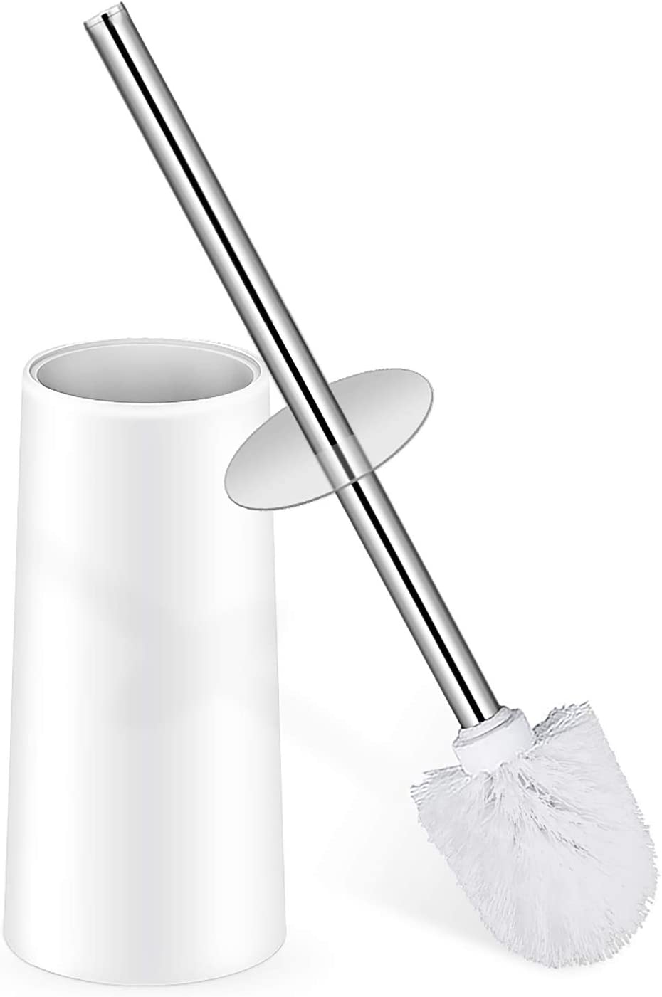 Toilet Brush, Toilet Brush with Holder, Toilet Bowl Brush with Stainless Steel Handle Durable Bristles Deep Cleaning Compact Bathroom Brush Save Space Good Grip Anti-Drip, White
