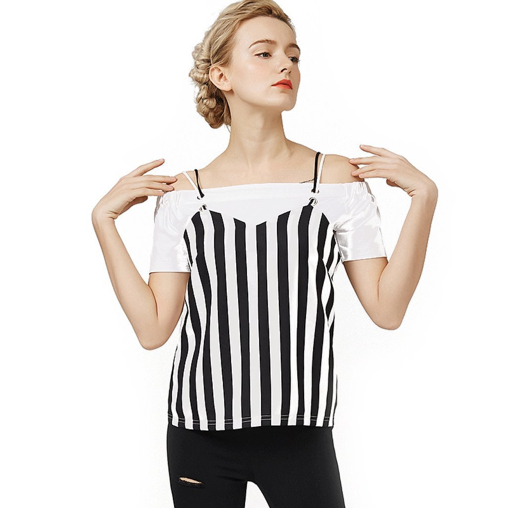 LI SHI XIANG SHOP Summer harness two sets white striped cotton T-shirt short-sleeved women's blouse (Color : Stripe, Size : M)