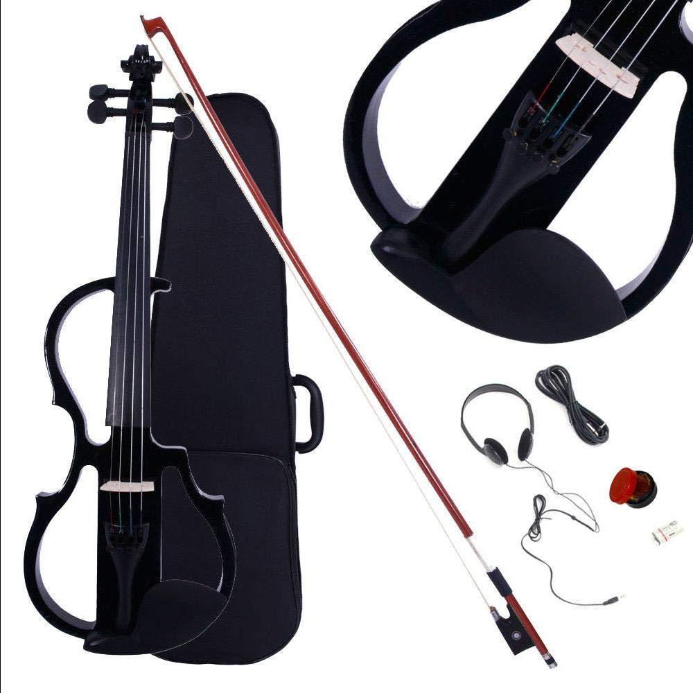 Black Spruce Ebony Maple & Arbor 3-Band EQ 4/4 Electric Violin w Case Bow & Rosin