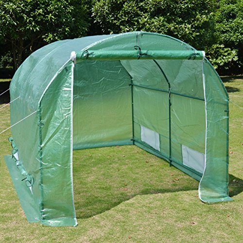 Green house 10 39 x7 39 x6 39 larger walk in greenhouse outdoor for Geodesic greenhouse plans free