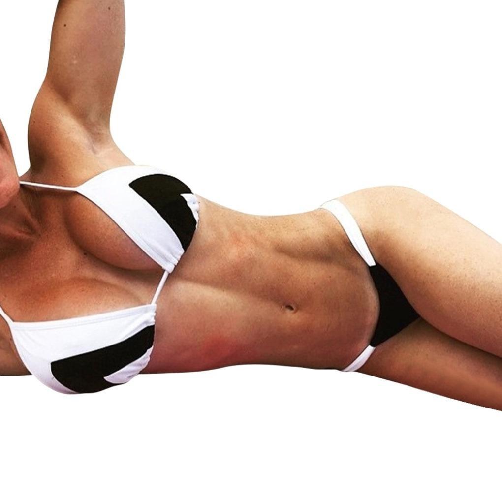 Women [ Two-Piece ] Bikini Set, Summer Woman [ Hit Color Striped ] Bikini Swimsuit [ Bralette Push-up ] Swimwear Bikini Suit (Black, L)