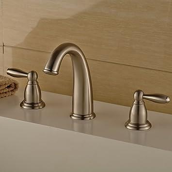 Caribou@bathroom taps/Bathroom Sink Taps European copper wire triple ...