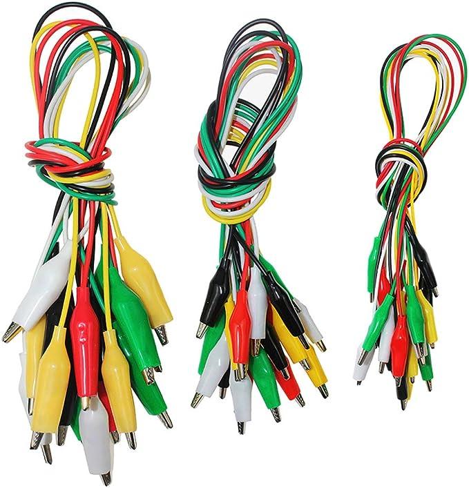 20 STÜCKE doppelseitige Krokodilklemmen Test Isolierte Kabel Kabel 20 D4W3