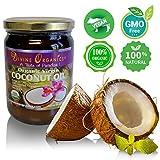 Divine Organics 16oz Coconut Oil - Certified Organic, non-GMO, Extra Virgin - No Chemicals