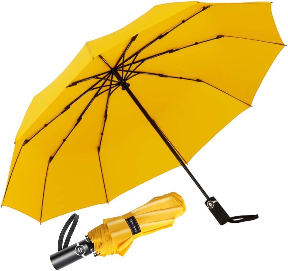 Newdora Paraguas Plegable Automático Impermeable 10 Armazones de Metal Compacto Resistencia contra Viento para Viaje para Hombres y Mujeres