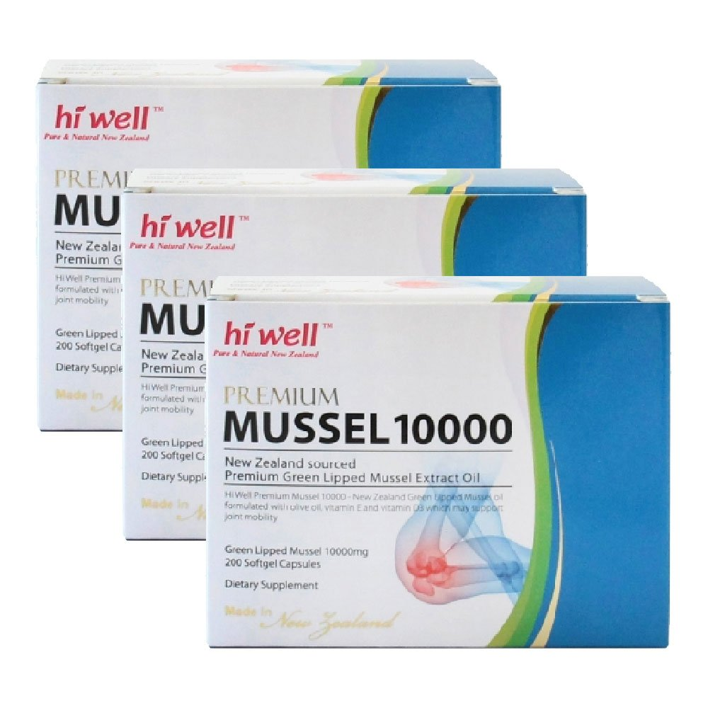 Hi Well Premium Green Lipped Mussel 10000mg 200 Capsules New Zealand Green Lipped Mussel Extract Oil Joint Health Support & Mobility (Pack of 3) by Hi Well