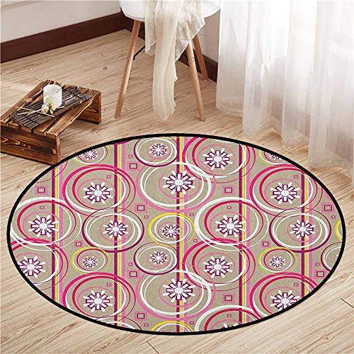 Indoor/Outdoor Round Rugs,Floral,Modern Retro Mix Abstract with Sketchy Circles Creative Swirls Artwork,Sofa Coffee Table Mat,3'11