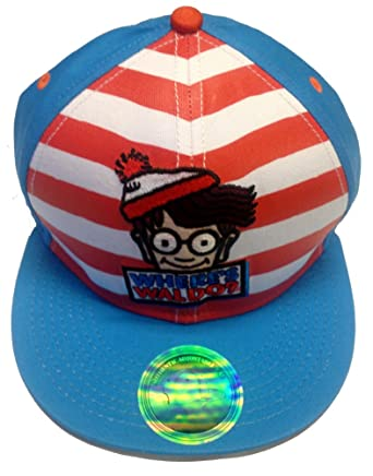 93f2de19fa5 Where s Waldo Wally Book Striped Flat Bill Cartoon Snapback Adjustable Hat  Cap  Amazon.co.uk  Clothing