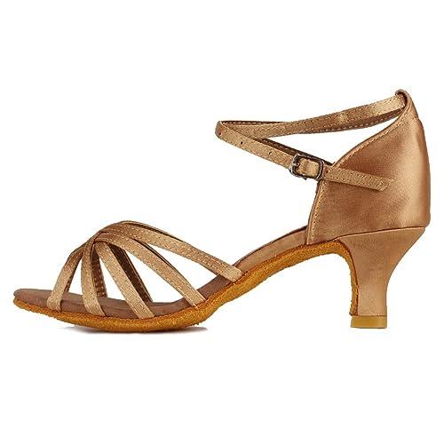 HIPPOSEUS Zapatillas de Baile Latino para Mujer/Satén/Altura del tacón 5CM / 7CM, Modelo ES213: Amazon.es: Zapatos y complementos