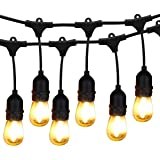 BRIMAX - 48ft Outdoor Patio Led Edison String Lights for Café Outside Lights Décor, 15 E27 Socket IP65 Waterproof, 15+3 2W S14 LED Non-Dimmable Filament Bulb, for Christmas Deck Lights