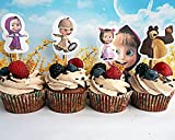[RusToyShop] 24+24 psc Masha and the Bear party cake cupcake topper + tartlets Masha and the Bear Holiday for Holiday Topper