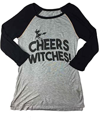 3ff6bf1a8 Image Unavailable. Image not available for. Color: Womens Cheers Witches  Halloween Long Sleeved Tee Shirt ...
