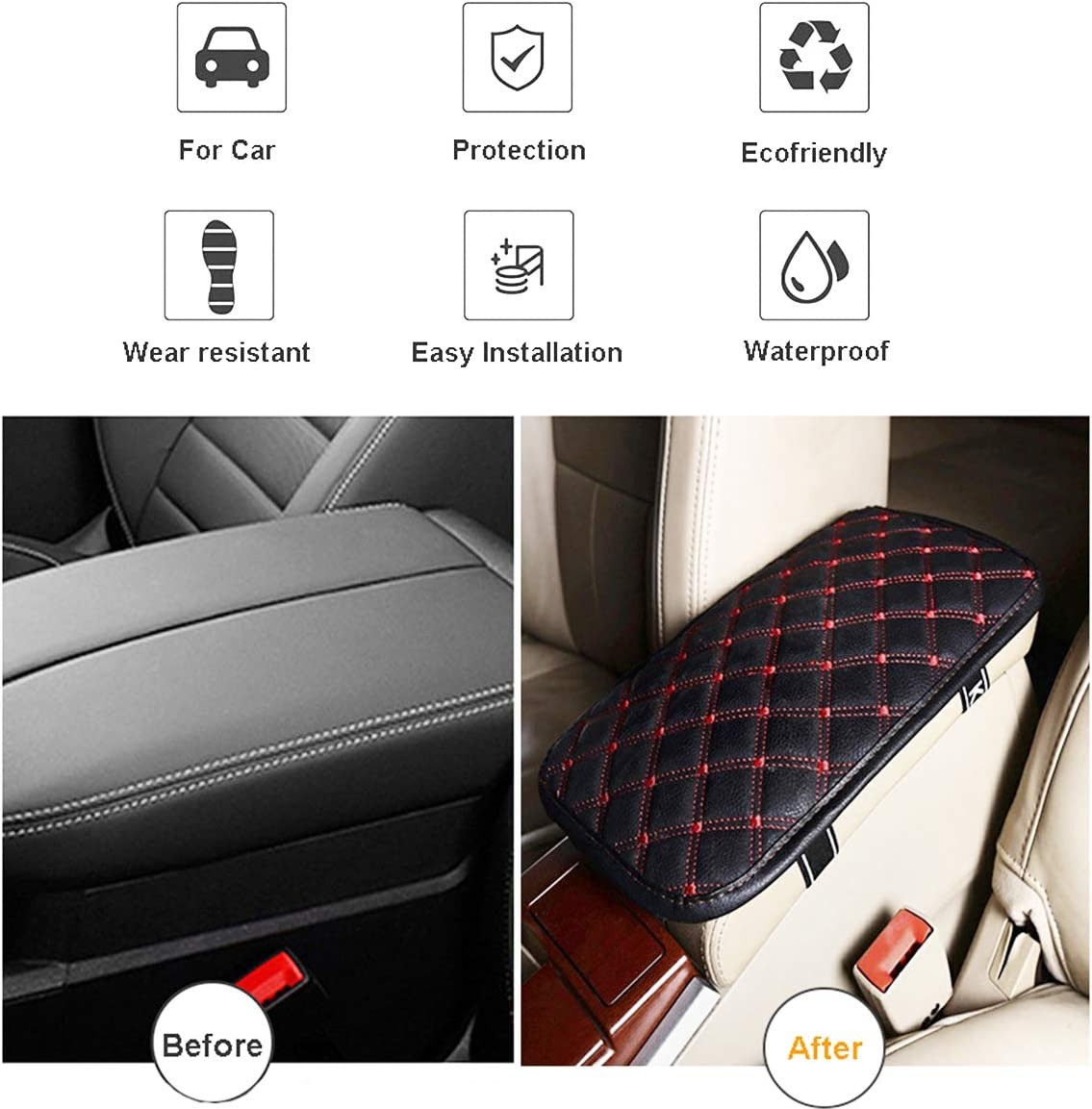 VRGT Car Center Armrest Cushion Mat,Naruto Naruto Design Armrest Cover Seat Box Cover Protector fit Most Car Vehicle SUV Truck Car 12.6x7.5inch