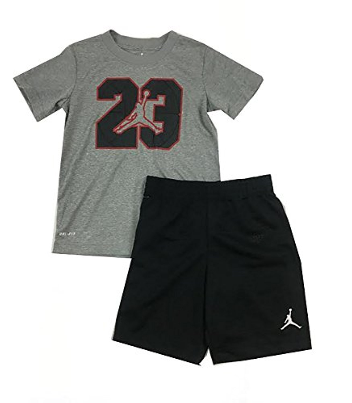 Jordan Jumpman 23 Logo Little Boys Tee Shirt and Shorts Set Black/Dark Heather Grey Size 5