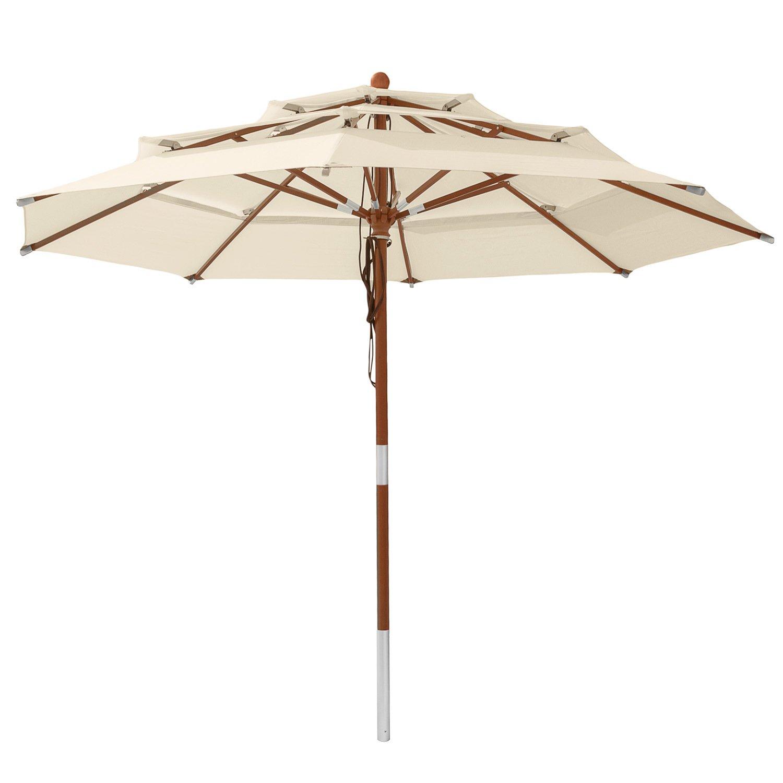 Amazon anndora Sonnenschirm 3 lagig 3 5 m rund Modell DREILADREIFüNF Gartenschirm wasserabweisend Natural