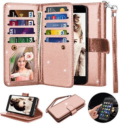 Google Pixel 2 Case, 2017 Google Pixel 2 Wallet Case, Njjex [9 Card Slots] Shimmering Powder PU Leather ID Credit License Protective Flip Cover [Detachable] [Kickstand] & Wrist Strap Cute Case - Rgold (Wallet 2 Slot)
