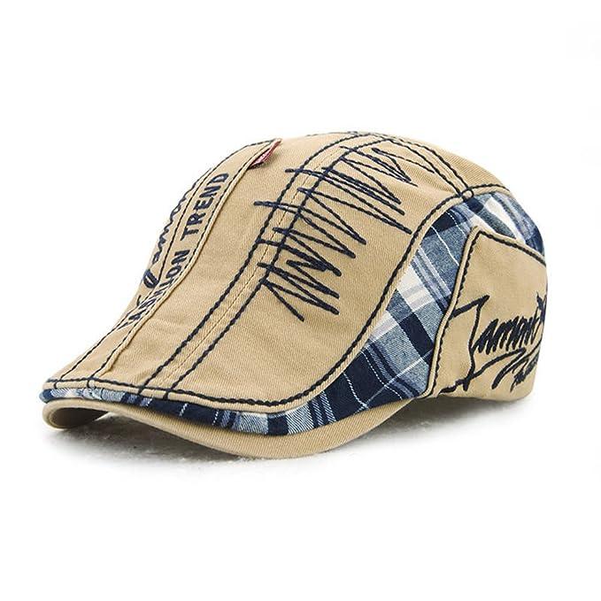 Amazon.com  KANWEI Unisex Cotton Beret Hat Buckle Paper Boy Newsboy Cabbie  Golf Gentleman Cap (Beige)  Clothing e1a7c2a3f3e7