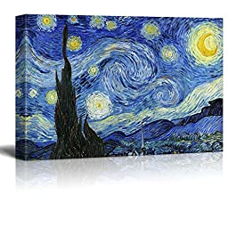 Wall26 - Starry Night by Vincent Van Gogh - Oil Painting Reproduction on Canvas Prints Wall Art, Ready to Hang - 24\