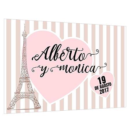 Photocall París Personalizado | Decoración de boda | Material Lona con Velcro para fácil colocación (300x200cm)