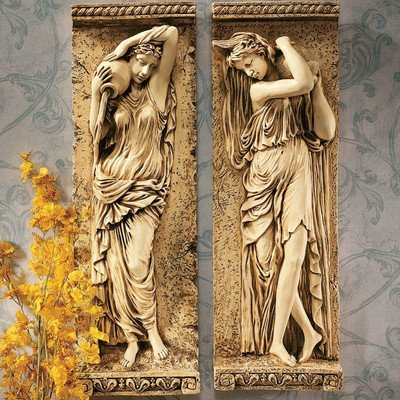 Design Toscano Water Maidens Wall Friezes Set Includes: Dordogne and Seine (Garden Wall Formal Fountain)