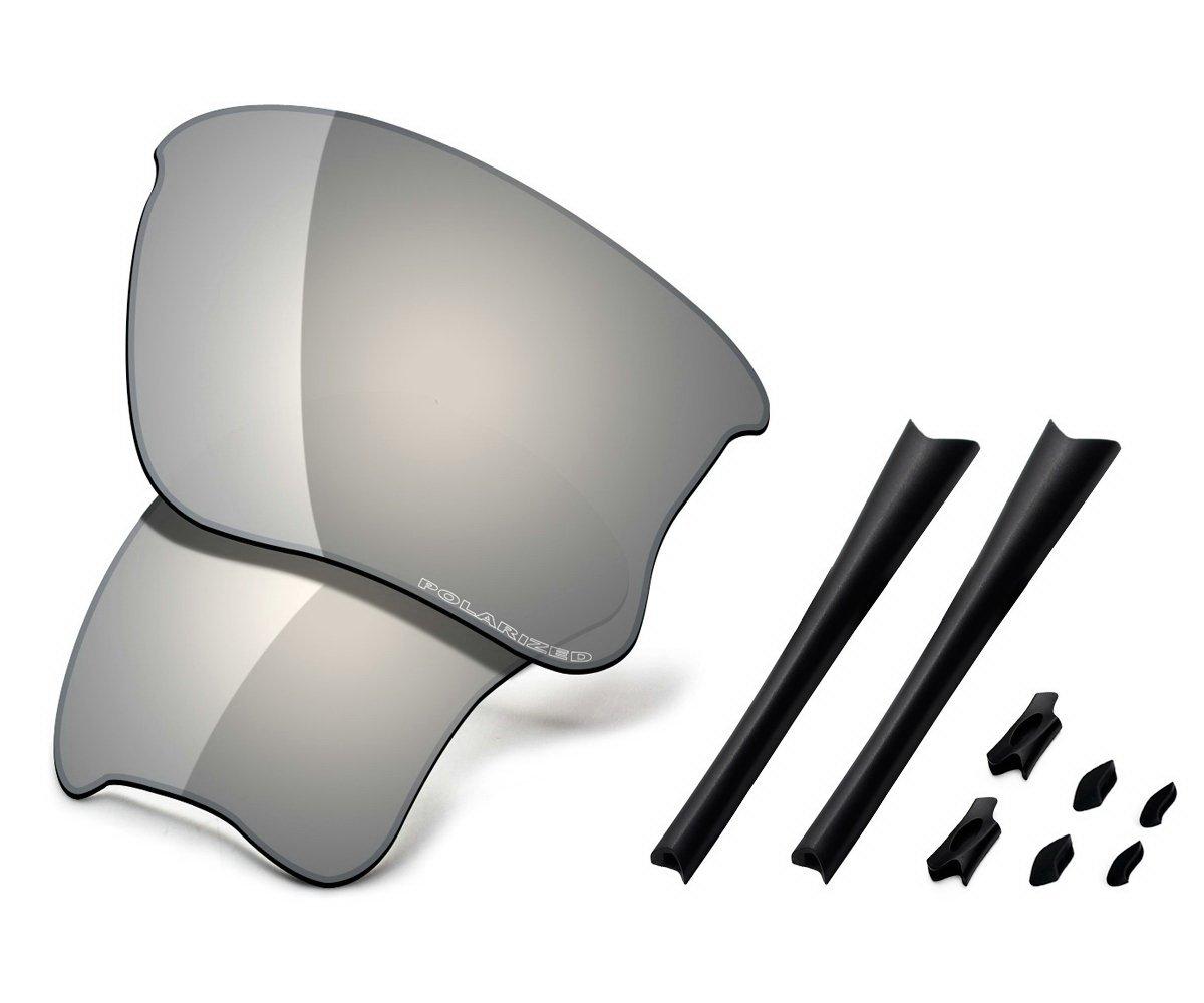 Saucer Premium Replacement Lenses & Rubber Kits for Oakley Flak Jacket XLJ Sunglasses High Defense - Chrome Metal Polarized