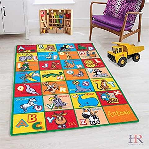 HR'S 8FTX11FT KIDS EDUCATIONAL/PLAYTIME RUG 7FT.4INX10FT.4IN PLEASE CHCK ALL PICTURES(ABC ANIMALS) - Tufted Zebra Rug