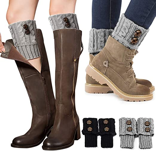 Boot Socks Lace Leg Warmers Crochet Knit Toppers Cuffs Knee High Long Legging