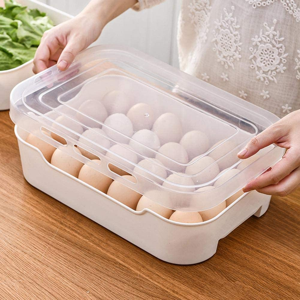 Bloomma Covered Egg Holder Plastic Refrigerator Egg Tray Carrier Clear Egg Holder Storage Container Holds up to 24 Eggs