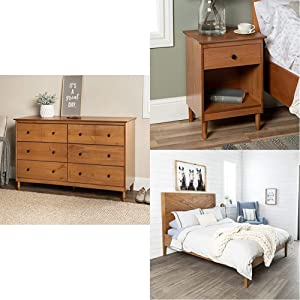 WE Furniture Queen Bed, Caramel   Traditional Wood 1 Nightstand Side Bedroom Storage Drawer and Shelf Bedside End Table, 18 Inch, Caramel Brown   Bedroom Storage Drawer Organizer, 6, Caramel Brown