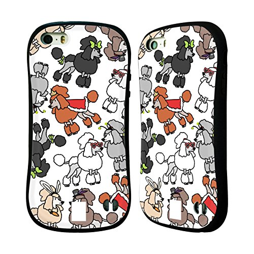 Head Case Designs Miniature Poodle Dog Breed Patterns 2 Hybrid Case for Apple iPhone 5 / 5s / SE