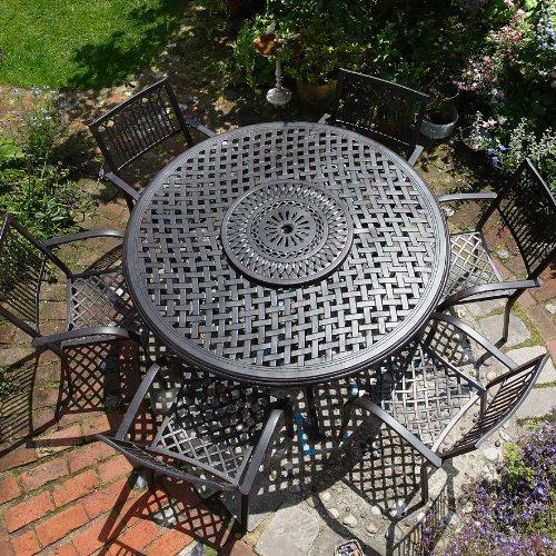 Valerie 150cm Rundes Gartenmöbelset Aluminium - 1 VALERIE Tisch + 6 MARY Stühle