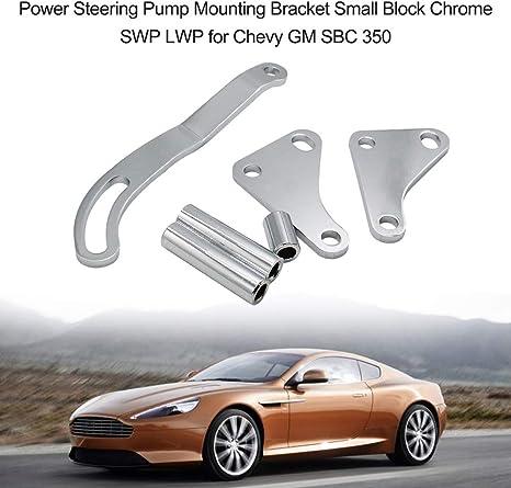 EASYBERG SBC Black Power Steering Pump Mounting Bracket Fit for SWP LWP Saginaw GM SB Chevy 350