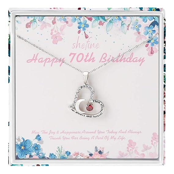 Regalo de 70 cumpleaños para mujer - Collar de acero ...