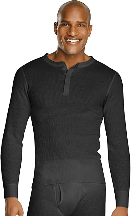 TALLA 4XL. Hanes Mens Organic Cotton Thermal Henley (14610)
