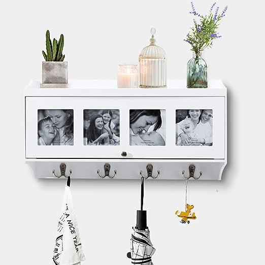 AHDECOR Estantería de Pared Estante Mural Estante Colgante con 4 Ganchos para baño Dormitorio y Cocina Entrada,Blanco