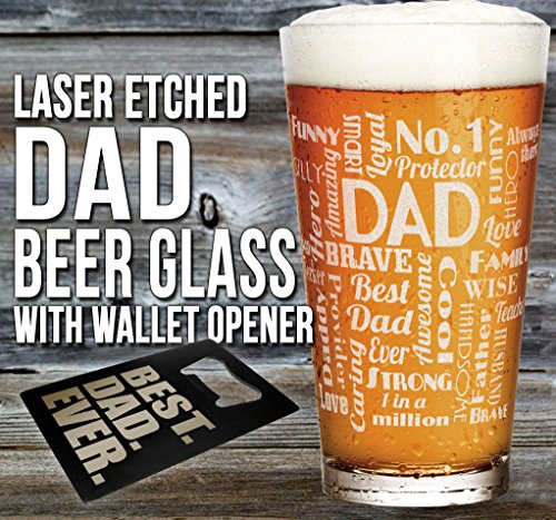 DAD Gift Pub Glass with BEST DAD EVER Wallet Bottle Opener Card - Funny Father's Day, Birthday or Christmas Gift Idea For Best Dad Ever (Bottle Glass Pub)