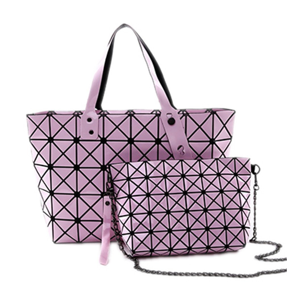 2 Set Women Folding Handbags Woman Geometry Shoulder Bags Top Handle Pink-2set 43x10x33cm