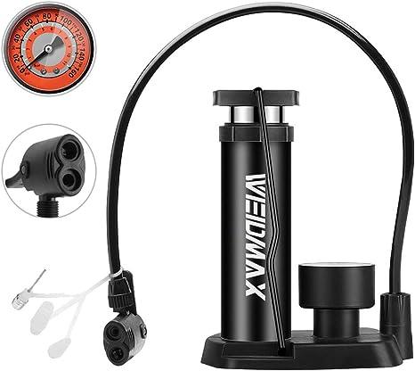 WEIDMAX Bomba de Bicicleta, Mini Bomba portátil de neumáticos de Bicicleta, Bomba de pie, manómetro, Aguja Inflable y válvula de inflado Compatible con la válvula ...