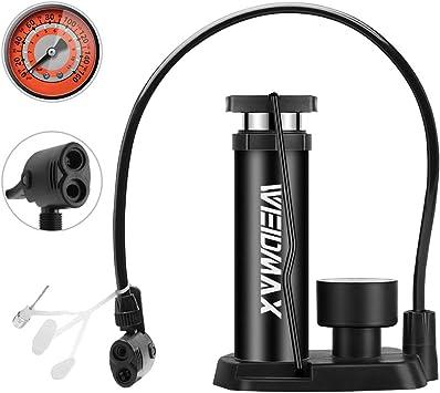 WEIDMAX Bomba de Bicicleta, Mini Bomba portátil de neumáticos de Bicicleta, Bomba de pie, manómetro, Aguja Inflable y válvula de inflado Compatible con la válvula Universal Presta y Schrader: Amazon.es: Deportes y