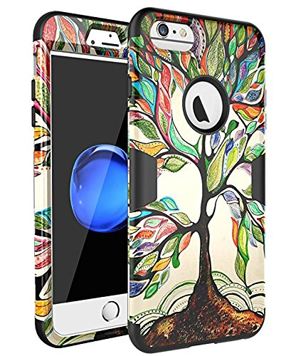 iPhone 6 Cases, iPhone 6S Case, SKYLMW Hard PC Shell with Soft Silicone Hybrid iPhone 6 Covers Protective 3 Piece Shockproof Anti-Scratch Combo Cover for iPhone 6/6S 4.7 Inch Tree Black