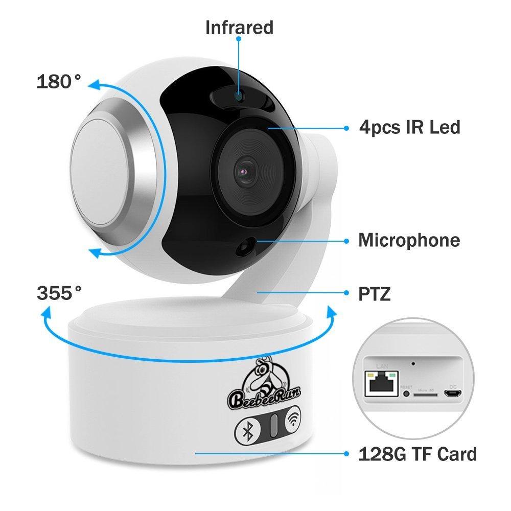 BeebeeRun C/ámara de Vigilancia Interior 1080P Full HD C/ámara de Seguridad con Sistema de Vigilancia Visi/ón Nocturna Detecci/ón de Movimiento