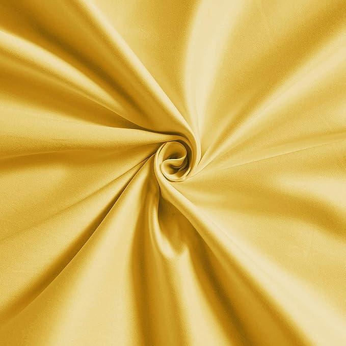 Sábana Satén Algodón, Recuento 100 Hilos Láminas Premium Calidad Juego Cama Blanda Resistente Arrugas Desvanecimiento Sola Reina Conjunto Resistente Manchas Hipoalergénico,Yellow,160cm*230cm: Amazon.es: Hogar