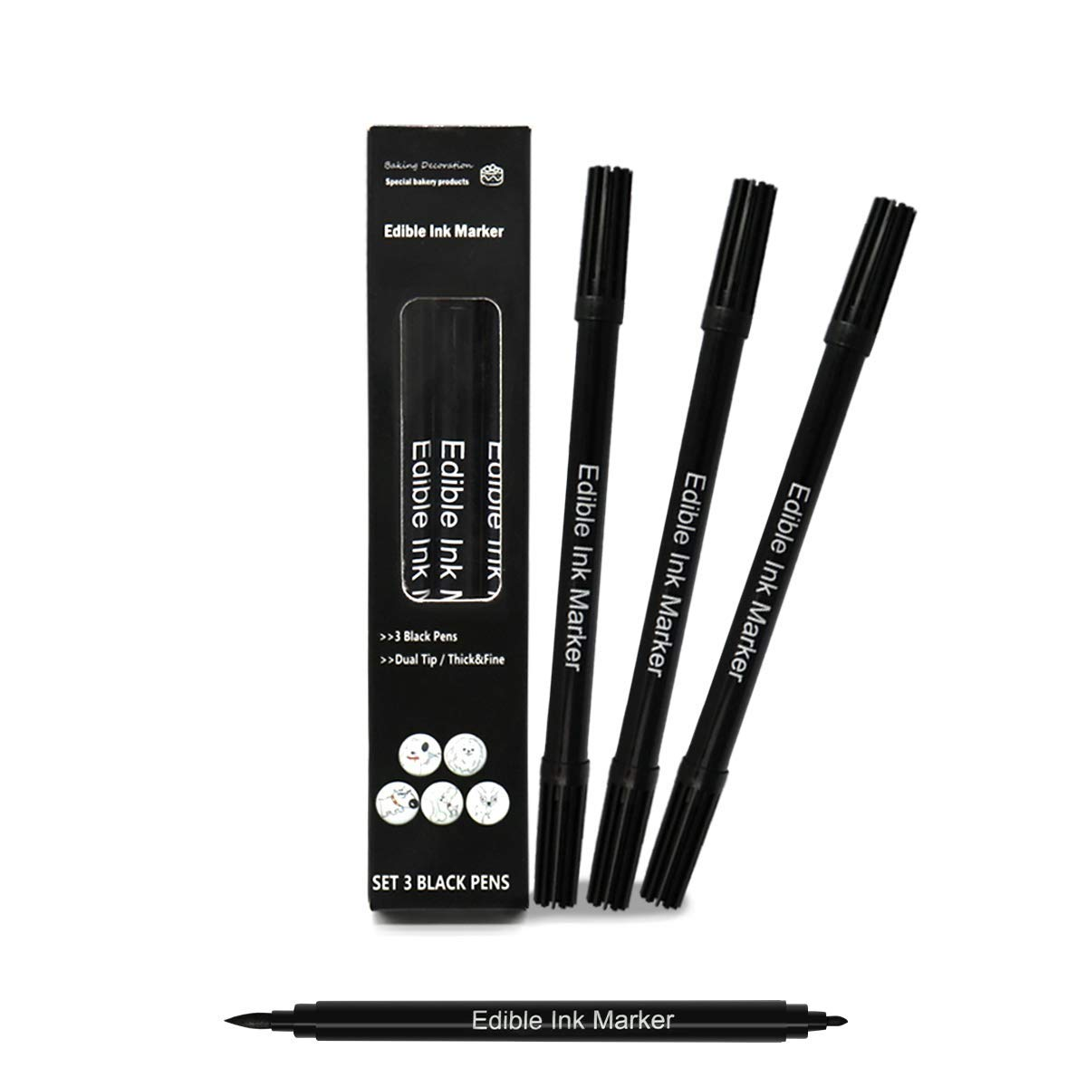 Edible Markers for Cookies Food Coloring Pens 3pc, Food Grade Gourmet Writers with Fine Thick Tip, Baking Paintbrush for DIY Fondant Cakes Frosting Easter Eggs Party Decorating Drawing Writing