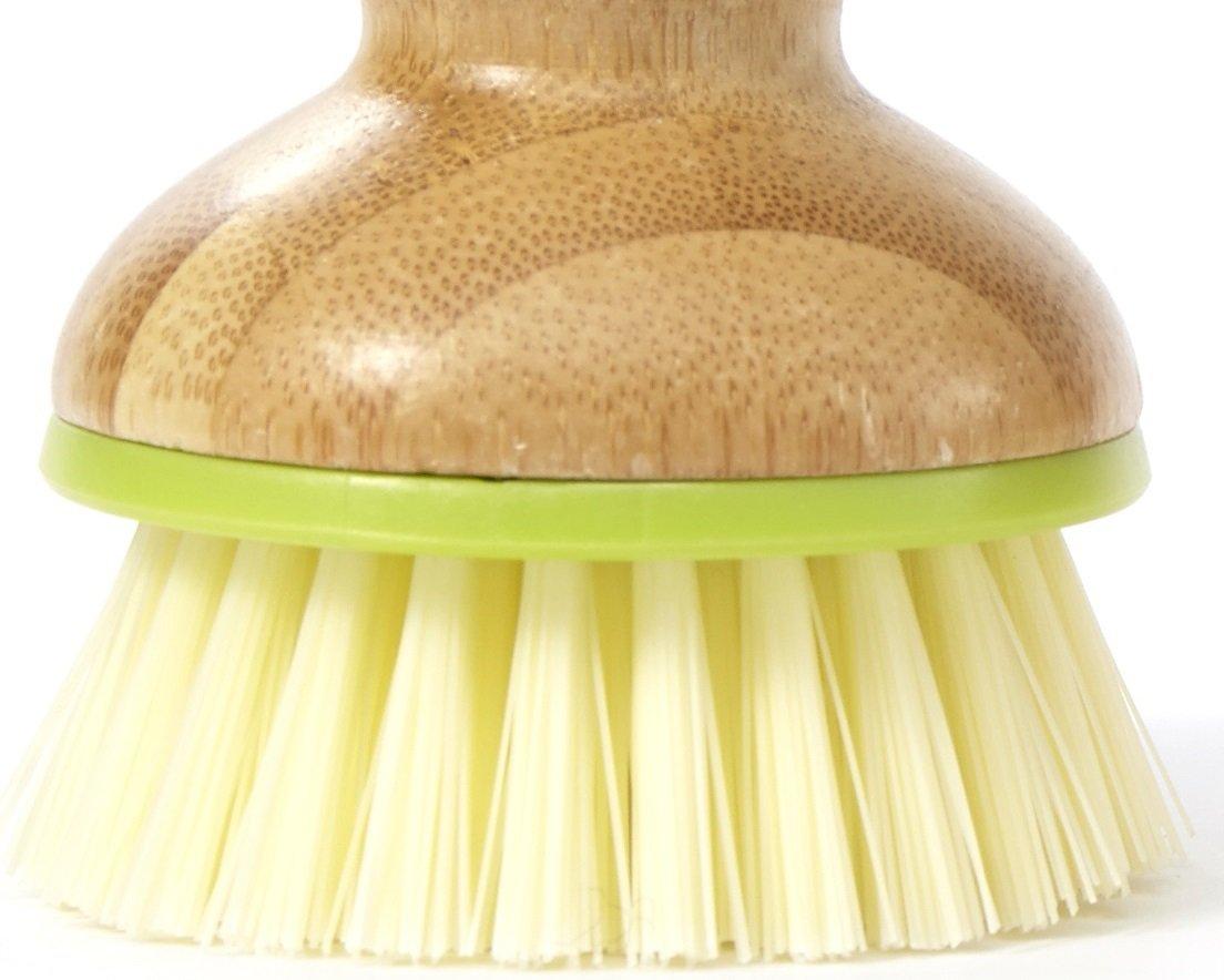 Full Circle Bubble Up Ceramic Soap Dispenser & Dish Brush w Bamboo Handle, Green/White by Full Circle (Image #2)