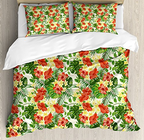 Ambesonne Tropical Duvet Cover Set King Size, Exotic Pattern