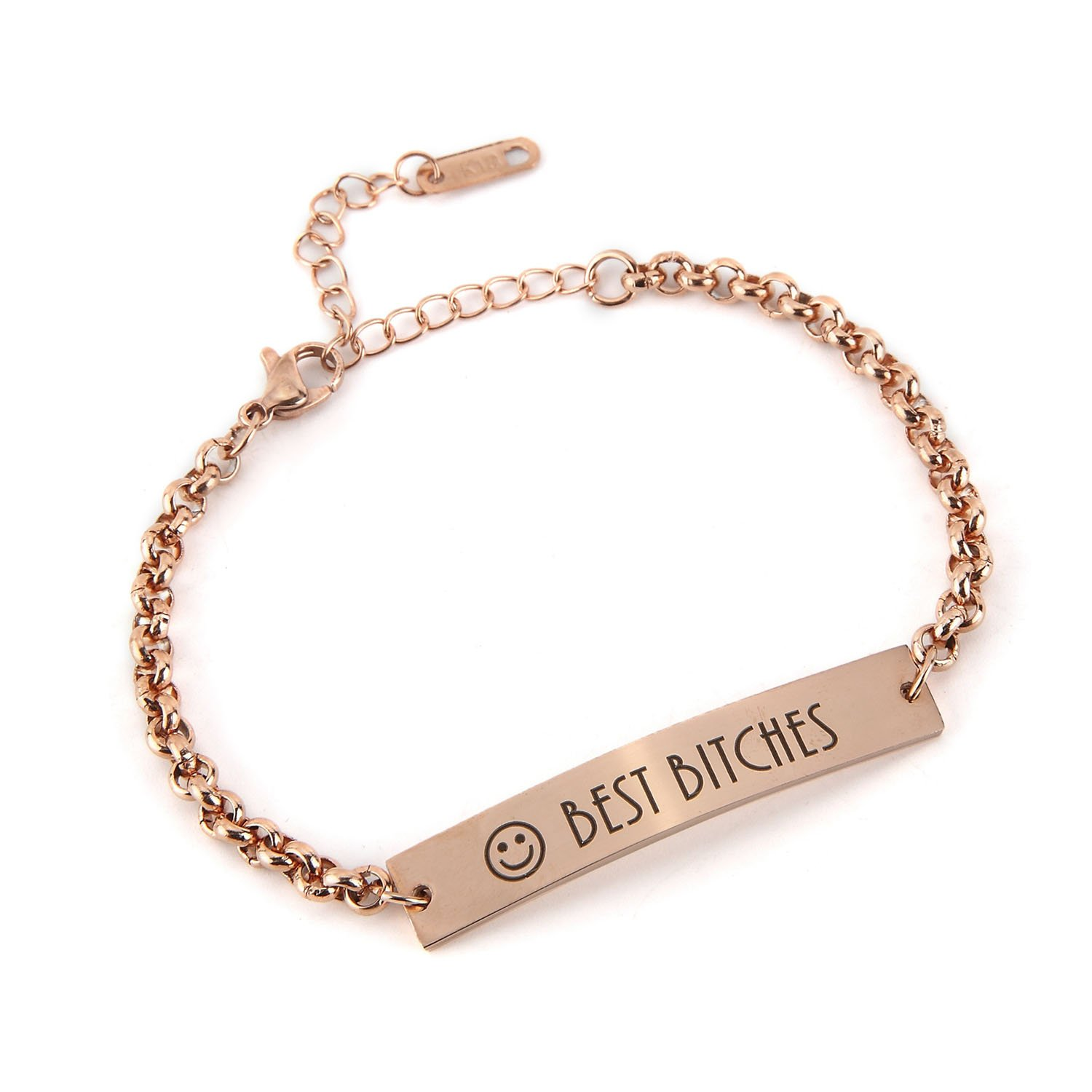 Custom Initial Bracelets - Personalized Stainless Steel Name Plate Bar Chain Bracelets for Women BAIYI Jewelry