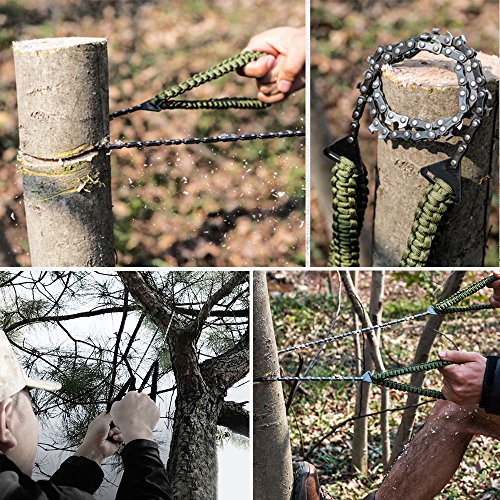 Pocket Chainsaw with Paracord Handle (24inch 11teeth) / (36inch 16teeth) Emergency Outdoor Survival Gear Folding Chain Hand Saw Fast Wood & Tree Cutting Best for Camping Backpacking Hiking Hunting