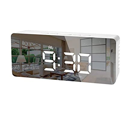LEDGLE Digital LED Alarm Clock Desk Clock with Glass Display Screen Displays Time Temperature and Calendar