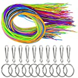 160 pcs Scoubidou Strings Plastic Lacing Cord DIY Craft Gimp String with Snap Clip Hooks Keychain Ring Clips Plastic Lacing Cord for Jewelry Making,16 Colors
